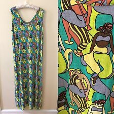 FLAX Jeanne Engelhart Women Bathing Beauties Print Maxi Dress Medium M