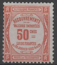 "FRANCE STAMP TIMBRE TAXE 47 "" 50c ROUGE "" NEUF xx TTB , VALEUR: 1000€  K721"
