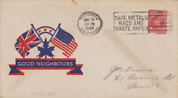 CANADA WWII PATRIOTIC COVER 1943 TORONTO ONT - GOOD NEIGHBOURS