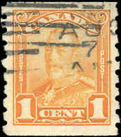 Used Canada VF Scott #160 COIL 1c 1929 KGV Scroll Issue Stamp