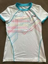 Girls Fila Sport White Tshirt with Teal,Yellow and Pink at top M 10-12