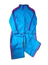 Adidas Size 16 Blue Pink Tracksuit Jacket And Sweatpants