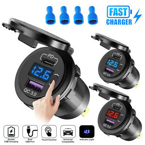 QC 3.0+PD 12V-24V LED Dual USB Car Fast Charger Socket Power Outlet Touch Switch