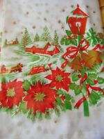 Vintage Plastic Christmas Tablecloth Winter Wonderland Village Scene 52 x 72 Rec