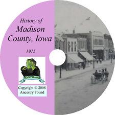 1915 MADISON County Iowa IA - History & Genealogy - Winterset Family  - CD DVD