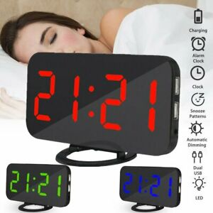 Dual USB Digital LED Clock Snooze Mirror Alarm Clock Time Night Mode Large