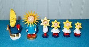 Vtg Erzgebirge WENDT & KUHN Moon Family: Father Moon, Mother Sun & Star Children
