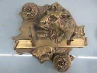 Ornate Fine Cast Bronze/Brass Roaring Lion Gilt Double Inkwell & Pen Holder