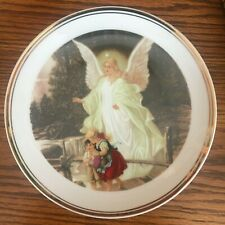 Angel watching over 2 children plate with gold trim, beautiful!