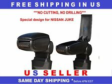BLACK LEATHERETTE ARMREST FOR NISSAN JUKE 2010-2017 NO CUTTING, NO DRILLING