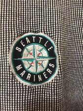 Seattle Mariners Safeco Field Men's Dark Blue Checks Polo Shirt Size XL Antigua