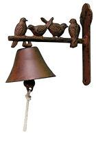 GHISA uccelli su un ramo ANTERIORE Campanello Porta Campana Cancello Giardino Ornamento Nuovo