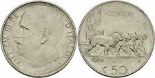 Italien Vittorio Emanuele III 50 Centesimi 1925 Aequitas Löwen Quadriga KM 61.1