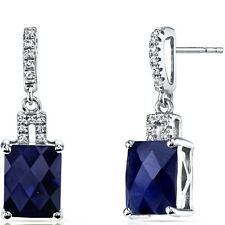 14K White Gold Created Sapphire Earrings Radiant Checkerboard Cut 6.00 ct