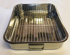 Stainless Steel Roasting Trays Oven Pan Roaster Tray Grill Rack 42cm X 31cm