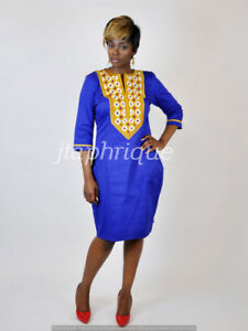 Blue Ladies  Polished Cotton With Gold Embroidery,African clothing-wedding