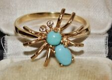 9ct Yellow Gold on Silver Natural Turquoise Spider Novelty Ring size N