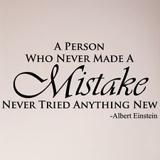 "46"" A Person Who Never Made A Mistake Albert Einstein Wall Decal Sticker Quote"
