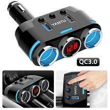 3Way Cigarette Lighter Socket Splitter Power Adapter Car Charger Dual USB 12/24V