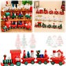 Christmas Wooden Train Claus Santa Kids Gifts Home Ornament Xmas Festival Decor