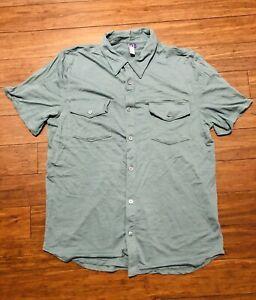 Ibex Short Sleeve Button Up Wool Shirt Men's Large