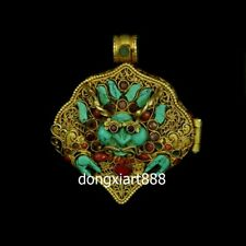 Tibet Silver inlay coral niche for Buddha Four arms guanyin Amulets Pendants