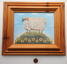 """MOUTONS photo par Mi-naïf style lourd cadre en bois art populaire 15x13"""" animaux de ferme"""