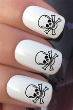 WATER NAIL TRANSFERS PIRATE SKULL & CROSS BONES FANCY DRESS DECALS STICKERS *317