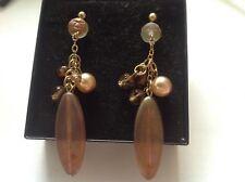 Czech Bohemian crystal long brown glass bead pearl drop dangle earrings 7cm