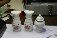 Vintage 3 PC Vase with Floral Design and Gold Trim +lid  Price Reduced!