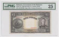 British Bahamas 1 Pound 1936 P11e VF ND 1947 King George Certified PMG 25 Rare