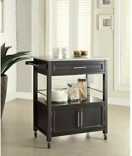 Black Kitchen Cart Rolling Island Granite Top Utility Storage Cabinet Drawer New
