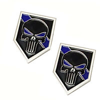 Thin Blue Line Punisher Skull For Law Enforcement Police Sheriff Lapel Pin