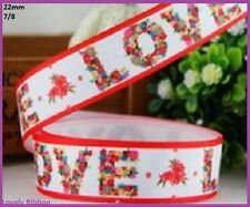 1 metre, LOVE, FLOWERS, 22mm, Ribbon, 7/8, Grosgrain, Hair, Sewing, Florist
