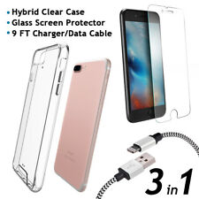 iPhone 8 Plus Clear Case + Glass Screen Protector + 9FT Charger/Data Cable 3in1