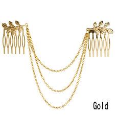 Women Gold Metal Tassel Leaf Comb Cuff Chain Wedding Jewelry Headband Hair Band
