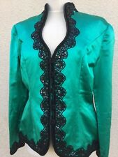 VINTAGE 80's BELLVILLE SASSOON EMERALD GREEN BLACK LACE CORSET JACKET TOP M 14