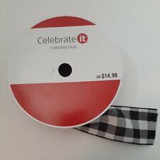 Celebrate It Wired Jumbo Ribbon Plaid Black White 2.5 in × 75 FT