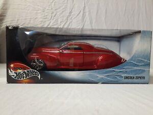100% Hot Wheels 1:18 Diecast Lincoln Zephyr Red Metallic Model 54589