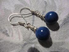 Beautiful signed 925 silverhook 8mm lapis lazuli 3cm drop 2gram pierced earrings