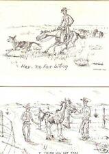 2 Jean Harsfield Lofink unused Western comic postcards