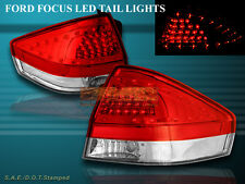 2008-2011 Ford Focus Tail Lights Red Clear W/ LED