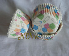 50 Lovely baby shower white cupcake liners baking paper cup muffin case