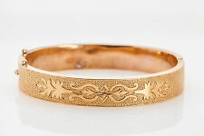 Antique Victorian 1890s Engraved 14k Gold Bangle Bracelet