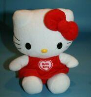 "Sanrio Hello Kitty 8"" Red White Plush CAT No Sound Soft Toy Stuffed Animal Sits"
