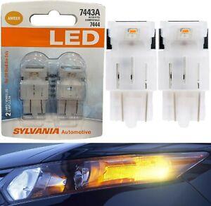 Sylvania Premium LED Light 7443 Amber Orange Two Bulbs Front Turn Signal OE Lamp