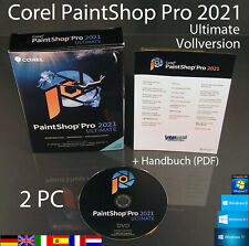Corel PaintShop Pro 2021 Ultimate Vollversion 2 PC Box + DVD, Handbuch OVP NEU