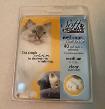 Soft Claws Nail Caps for Cats Paws, Medium, Clear, 4 complete applications - NEW