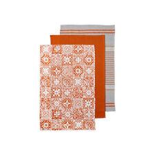 Ladelle Orange Moroccan Tile Tea Towels, Set of 3 Kitchen Textiles Dish Cloths