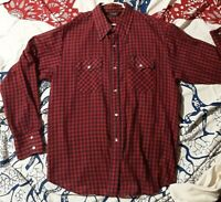 Vintage Men's 1970's Checked Western Shirt w/ Pearl Snaps by Lee (XL/XXL)